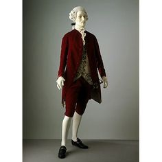 This ensemble illustrates fashionable formal dress for men in the 1770s. The fine silk velvet and embroidered waistcoat indicate that it was probably worn during the evening, at the theatre, opera or the always convivial Assembly Rooms located in the more fashionable towns and cities. By the 1770s the waistcoat has shortened further and ends at the top of the thigh. The skirts continue to diminish in volume and move further to the back. The sleeves and cuffs are getting narrower. Compared to…