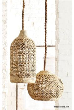 This beautiful Abaca light piece, adds touch of rustic elegance to any decor. Abaca is a durable and flexible fiber that has a lovely natural color and can be used to create finely detailed woven patterns, such as those in our shapely pendant lamps. Home Lighting, Modern Lighting, Pendant Lighting, Pendant Lamps, Plug In Pendant Light, Rattan Pendant Light, Deco Luminaire, Global Style, Home Decor Online