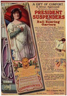 "Julia Marlowe as ""Juliet"", 1916 Ad for President Suspenders and Ball Bearing Garters"