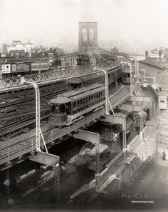 View of the Brooklyn Bridge approach when subway trains still crossed the bridge. Photographed in 1909 on 8x10 glass plate negative by the Detroit Publishing Company.