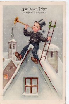 New Year chimney sweep with trumpet and ladder on the roof