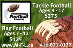 Register today at www.m-f-l.ca for quality developmental flag/tackle football. Tackle Football, Flag Football, Green Beans, Spring Summer, Events, Fall, Sports, Autumn, Hs Sports