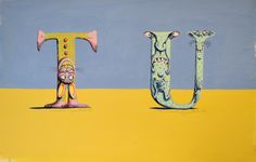 """Letter T and U"" original illustration from The Absolutely Awful Alphabet written and illustrated by Mordicai Gerstein 