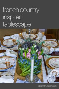 This simple but elegant table is set to reflect the French Country style of the dining room, working seamlessly with the decor around it. Modern French Country, French Country Decorating, Mardi Gras Centerpieces, Home Nyc, Country Interior Design, Table Setting Inspiration, French Style Homes, Elegant Table, Tablescapes