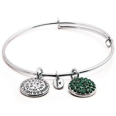 Chrysalis Good Fortune May Bangle CRBT0105SP #Chrysalis #Emerald #May #Bangle #Silver #Birthstone