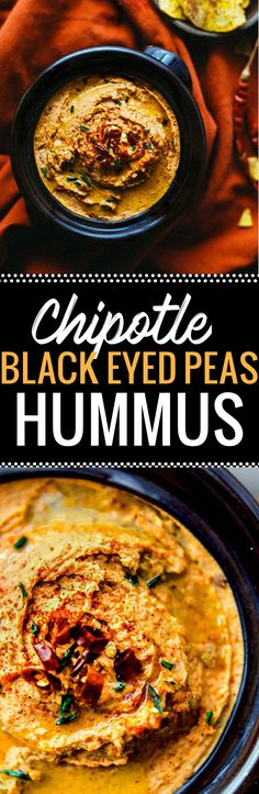 Chipotle Black Eyed Peas Hummus with spicy smokey flavor! A healthy twist on classic hummus with black eyed peas in place of garbanzo beans! Perfect for a snack or appetizer. Easy, vegan, gluten free. www.cottercrunch.com @cottercrunch