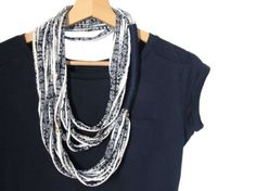 This looped fabric necklace is a beautiful addition to your look and a great present for your loved ones. The scarf necklace is made from cotton blue