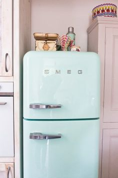 Carolines Mint Green Smeg Fridge. | MADE.COM/Unboxed Kitchen Inspiration, Interior Inspiration, Kitchen Ideas, Smeg Fridge, Sunroom Furniture, Pastel Interior, White Kitchens, Good Enough To Eat, Pretty Pastel