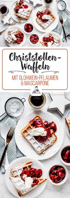 Christstollen waffles with mulled wine plums and mascarpone. – Kochrezepte – Stollen waffles with mulled wine plums and mascarpone. Alex Hoyer, Best Pancake Recipe, Homemade Burgers, Happy Kitchen, Prune, Christmas Brunch, Cooking Chef, Mulled Wine, Chocolate Chip Oatmeal