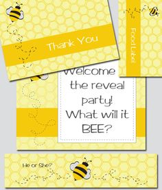 Bee Shower Theme Invitation and Decoration Printable. $30.00, via Etsy -thinkRSVP Printable Party Pieces