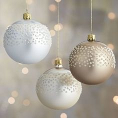 Flocked Polka Dot Ball Ornament - traditional - Holiday Decorations - Crate&Barrel