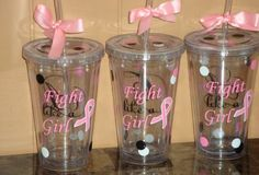 """16 oz. """"Fight Like a Girl"""" tumbler. $12, etsy. Maybe for one of our raffle prizes?"""
