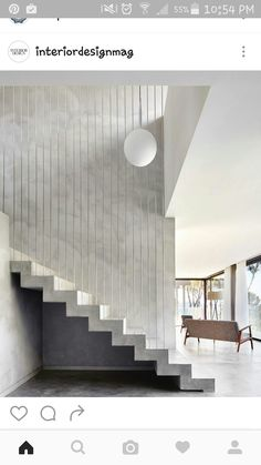 SEBBAH HOUSE Pepe Gascón Arquitectura + ASA Alexandre Boulin Two-storey house overlooking the sea in a sloping plot, which is accessed by a gangway to the . Concrete Staircase, Staircase Railings, Staircases, Staircase Ideas, White Staircase, Floating Staircase, Interior Staircase, Interior Architecture, Interior Design