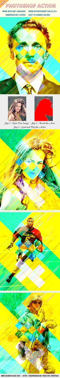 Colorful Rectangles Effect Photoshop Action — Photoshop ATN #stripe #colorful • Available here → https://graphicriver.net/item/colorful-rectangles-effect-photoshop-action/20566475?ref=pxcr