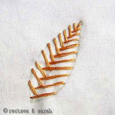 """""""Opened fishbone stitch"""" embroidery tutorial from Sarah's Embroidery Tutorials blog (it's awesome, covers basic embroidery stitch families with very clear step-by-step photos)."""
