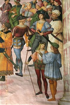 Pinturicchio, between 1502 and Detail of a fresco in the Piccolomini Library in the Duomo of Siena. The library was built by Pope Pius III in honour of his uncle, Pope Pius II (Aeneas Piccolomini) and decorated with frescoes Renaissance Kunst, Renaissance Portraits, Italian Renaissance, Renaissance Paintings, Renaissance Fashion, Blood Art, Italian Paintings, Landsknecht, Medieval Costume