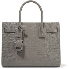Saint LaurentSac De Jour Baby Croc-effect Leather Tote (€2.700) ❤ liked on Polyvore featuring bags, handbags, tote bags, grey, yves saint laurent tote bag, yves saint laurent handbags, yves saint laurent, yves saint laurent purse and yves saint-laurent tote