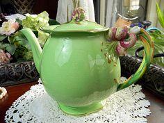 Royal Winton Grimwades Green Tiger Lily Teapot Tea Pot England 5640 via Etsy