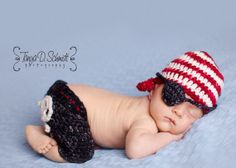 Pic would be so cute taken on burlap sack!  Pirate Newborn Photography Photo Prop Set by CustomCrochetbyVal, $40.00