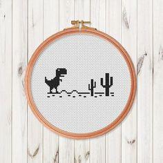 Trex mini Cross Stitch Pattern Dinosaur T-Rex Cross Stitch