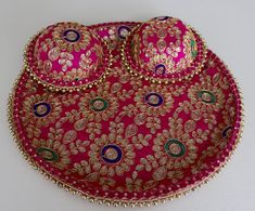 Our most popular Wedding Thals  Beautiful Fuchsia Magenta Mehendi / Maiyaan Thal embroidered with Dabka, Nakshi and Resham threads. This can be used at a Mehendi Function, as a Maiyaan Thaal, for Choora Ceremony, Ribbon Cutting, as a Gifting Tray, Shagan Da Thaal and for various other purposes. Gold Anklet, Rakhi, Mehendi, Bead Art, Satin Fabric, Magenta, Embellishments, Crochet Earrings, Tray