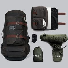 The Nomadic Pack is the result of a collaboration between VSTR (http://vstr.com) and Partner & Spade (http://partnersandspade.com) - designed for long periods of traveling. Bag includes detachable messenger laptop bag, and a lightweight stowable hammock #travel #adventure