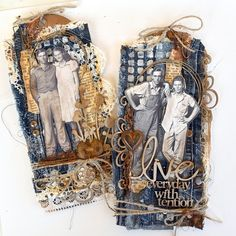 I had some pieces of jeans, some fabric leftovers. So I decided to sew some tags with jeans and some small pieces of lace. I have also...