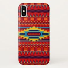 Modern African Art Gods Eye Pattern Red Yellow iPhone X Case - modern gifts cyo gift ideas personalize