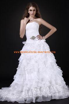 2013 Luxuriöse Brautmode aus Softnetz und Satin A-Linie