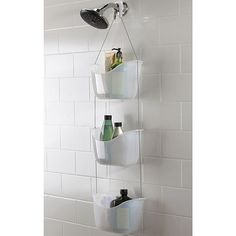 Save - Now Only The Umbra Bask Shower Caddy is a must for your bathroom! Use the hooks provided to hook the caddy over you shower rail or shower head.Umbra Bask White Hanging Bathroom Shower Tidy - White - at Victorian Plumbing Organization Prod Dorm Bathroom, Small Bathroom, Red Bathrooms, Compact Bathroom, Bathroom Organization, Bathroom Storage, In Shower Storage, Hanging Shower Caddy, Hanging Basket