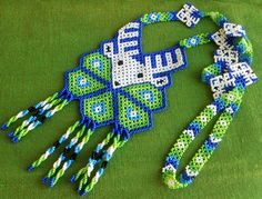 Mexican Huichol Beaded Deer and Peyote Necklace #mexican #huichol