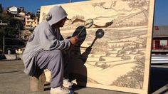 This artist uses the power of the sun to etch pyrography drawings