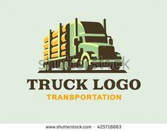 Truck logo illustration, transportation of wood