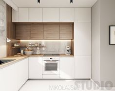 White kitchen with wooden elements