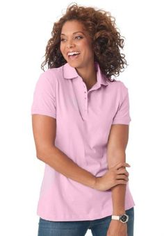 Woman Within Plus Size Top, Perfect polo short-sleeve t-shirt  Camisa polo rosa