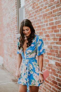 floral wrap dress, floral dress, privacy please floral dress, spring fashion, tory burch chain wallet, dolce vita effie block heeled sandal, dolce vita sandals, gold chain earrings, spring fashion, spring style, vacation style, vacation outfit, wrap mini dress // grace wainwright a southern drawl