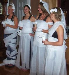 Toilet roll wedding dress game. Hilarious hen party games all the girls will love