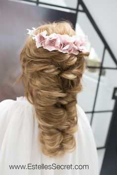 See Full Tutorial, go to our Tutorial page: http://www.estellessecret.com/ Bridal Updo, Wedding Hairstyle, Hair, Criss cross half updo, Faux Fishtail Braid, Hair extensions,