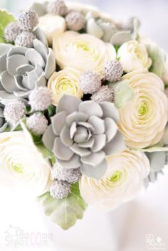 ranunculus bouquet This is absolutely perfect for a winter wedding! I wonder if the ranunculus is available during winter months....