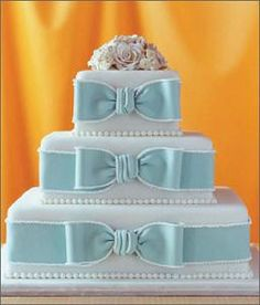Bow Wedding Cake.  If I ever renew my vows or get remarried, I will make this cake, but with a pale green or lavender bows.