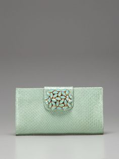 Carlos Falchi Exotics embellished python clutch - available at OKC's Wine, Women & Shoes event May 17 benefiting Work of Women (WOW!)