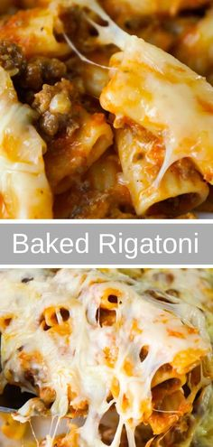 Baked Rigatoni Bolognese is an easy pasta dinner recipe loaded with cheese. This… Baked Rigatoni Bolognese is an easy pasta dinner recipe loaded with cheese. This pasta with ground beef and marinara sauce, is topped with Mozzarella and Parmesan cheese. Easy Pasta Dinner Recipes, Baked Pasta Recipes, Entree Recipes, Meat Recipes, Easy Meals, Easy Pasta Dinners, Easy Noodle Recipes, Baked Pasta Dishes, Recipies