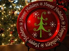 Great teacher gift idea ~ Christmas plate from a charger