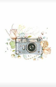 📸กล่อง Camera Wallpaper, Wallpaper Backgrounds, Pencil Art Drawings, Drawing Sketches, Watercolor Illustration, Watercolor Paintings, Camera Art, Instagram Highlight Icons, Belle Photo