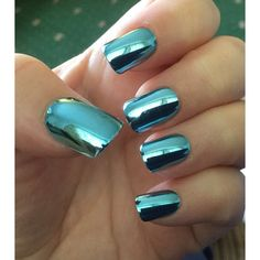 Blue Chrome nails ❤ liked on Polyvore featuring beauty products and nail care