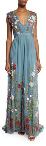 "Alice + Olivia ""Merrill"" maxi dress/gown with allover floral-embroidery. Approx. #boho #flowerpower #hippie"