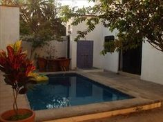 Private pool, outdoor bath, shower and entrance.