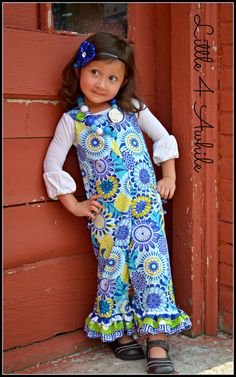 Girls True Blues Ruffled Butt Romper Fall Sizes 3 by Little4Awhile, $43.50