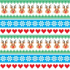 Buy Christmas Pattern with Reindeer Pattern by RedKoala on GraphicRiver. Winter red and green vector background – knitted style FEATURES: Vector Shapes All groups have names All element. Christmas Knitting, Christmas Cross, Christmas Paper, Card Patterns, Knitting Patterns, Patchwork Patterns, Embroidery Hearts, Vector Shapes, Banner Printing