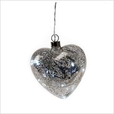 Silver Glass Heart LED with Battery Box